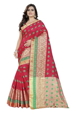 Pink Woven Cotton Saree With Blouse