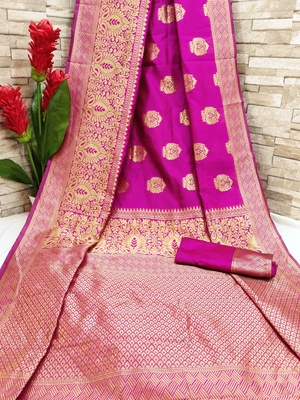 Rani pink woven banarasi saree with blouse