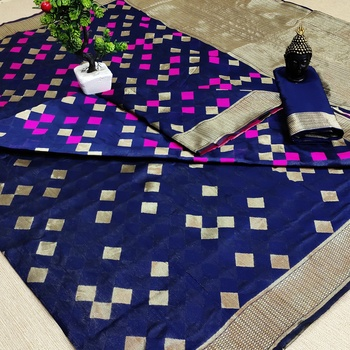 Navy blue woven banarasi saree with blouse