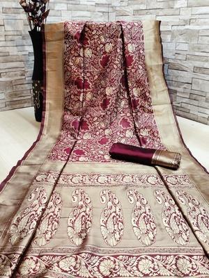 Maroon woven banarasi saree with blouse