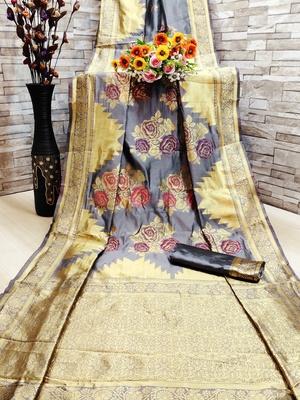 Grey woven banarasi saree with blouse