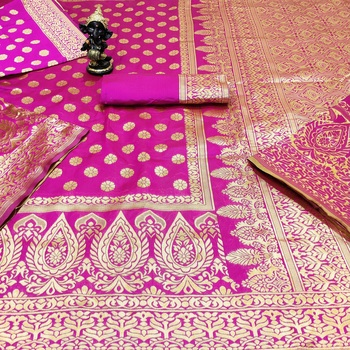 Rani pink woven banarasi saree with blouse