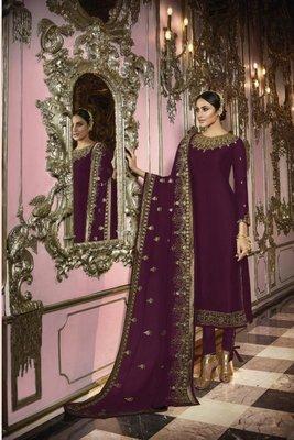 Wine embroidered georgette semi stitched salwar with dupatta