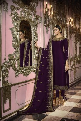 Violate Embroidered Georgette semi stitched Designer Salwar Suit