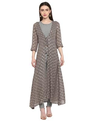 Grey printed polyester salwar