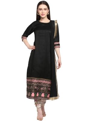 Black printed art silk salwar
