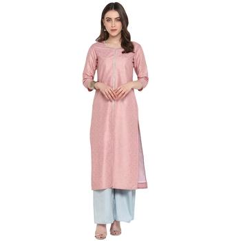 Light-pink printed art silk salwar