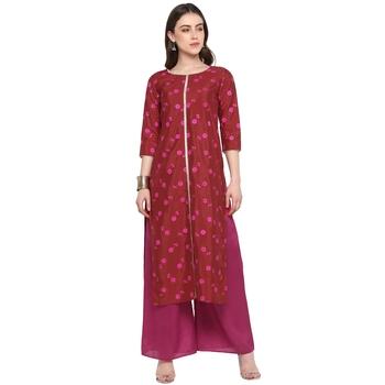 Red printed art silk salwar