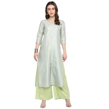 Light-blue printed art silk salwar
