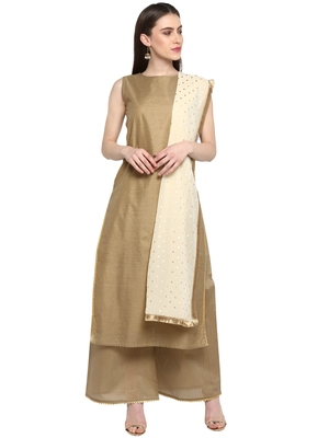 Brown printed chanderi salwar