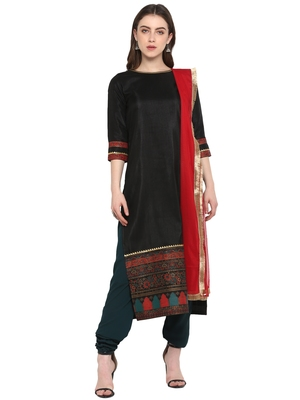 Black printed art silk salwar