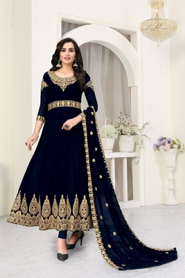 Navy-blue embroidered faux georgette salwar