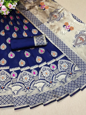 Royal blue woven banarasi saree with blouse