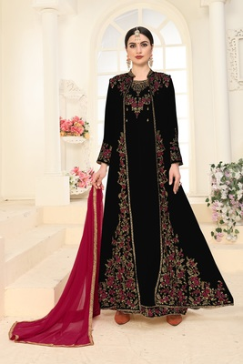 BLACK EMBROIDERED FAUX GEORGETTE ISLAMIC STYLE SALWAR SUIT DUPATTA WITH KOTI