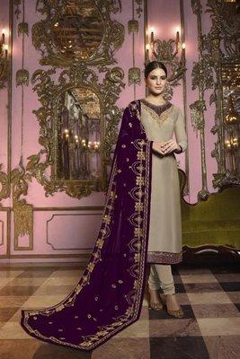 Beige embroidered georgette semi stitched salwar with dupatta