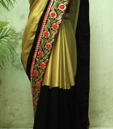 Buy Golden and Black embroidered georgette saree with blouse bridal-saree online