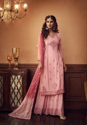 Pink embroidered georgette salwar