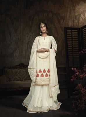 White embroidered georgette salwar
