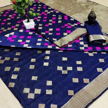 Navy blue woven banarasi saree with blouse