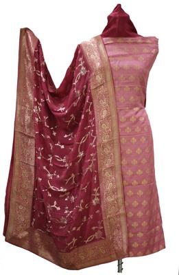 Plum Burgundy Soft Silk Zari Weave Unstitched Suit