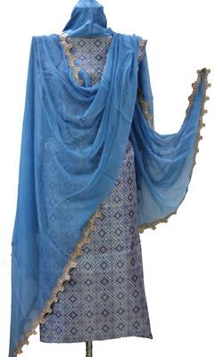 Blue Soft Cotton Shimmer Unstitched Suit