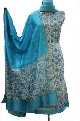Light Blue Print Chanderi Silk Unstitched Suit