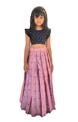 Kids Blue Blouse And Pink Lehenga Choli Set