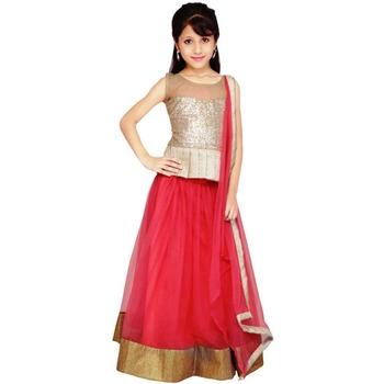 Pink plain net stitched lehenga