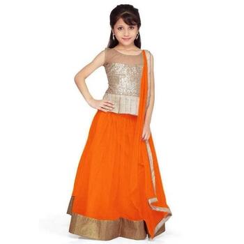 Orange plain net stitched lehenga