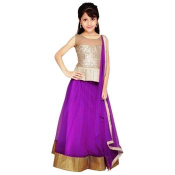 Purple plain net stitched lehenga