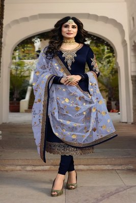 NevyBlue embroidered satin georgette semi stitched salwar with dupatta