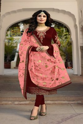 Maroon embroidered satin georgette semi stitched salwar with dupatta