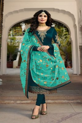 Tourquis Green embroidered satin georgette semi stitched salwar with dupatta