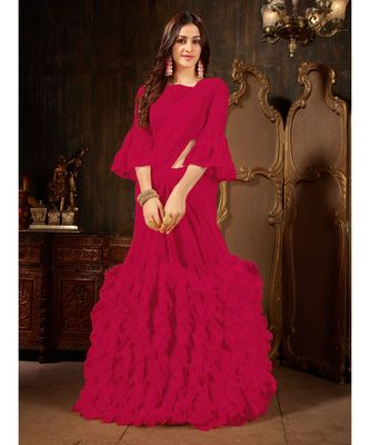 Magenta Plain Georgette saree with blouse