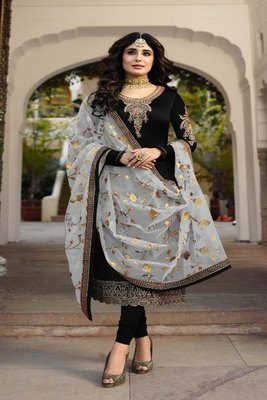 Black embroidered satin georgette semi stitched salwar with dupatta
