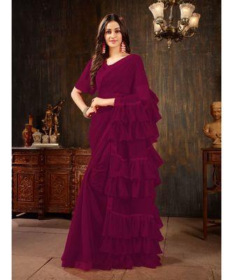 purple Plain Georgette saree with blouse