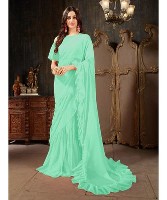 Turquoise Plain Georgette saree with blouse