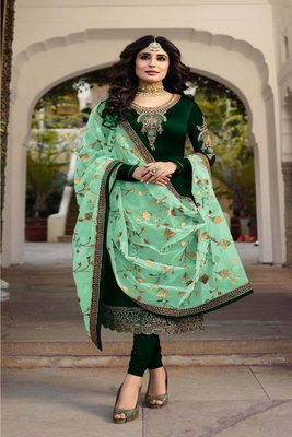Green embroidered satin georgette semi stitched salwar with dupatta