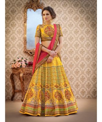 yellow floral print art silk unstitched lehenga