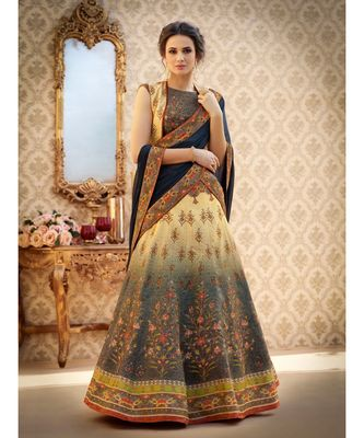 Cream floral print art silk unstitched lehenga