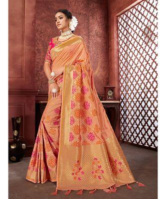 Peach Woven banarasi saree with blouse