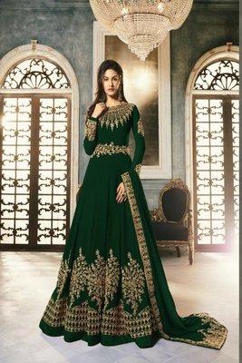 Pakistani Green Embroderi With Stone Work Anarkali Semi Suit