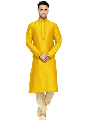 Yellow Embroidered Dupion Silk Kurta Pajama