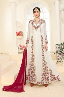 OFF-WHITE EMBROIDERED FAUX GEORGETTE ISLAMIC STYLE SALWAR SUIT DUPATTA WITH KOTI