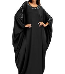 Women'S Black Color Pearl Work Abaya Burkha With Dupatta