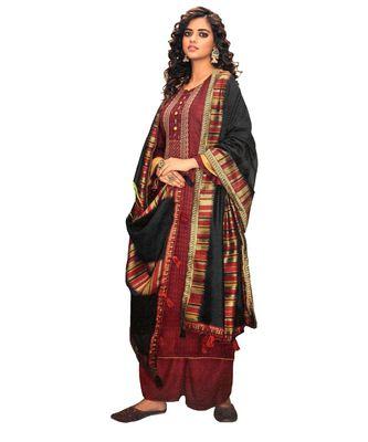 Maroon Embroidered Cotton Unstitched Salwar