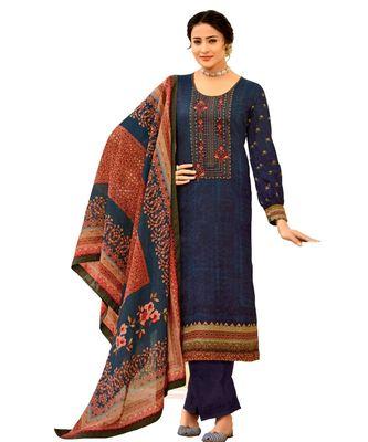 Blue Embroidered Cotton Unstitched Salwar