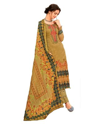 Brown Embroidered Cotton Unstitched Salwar
