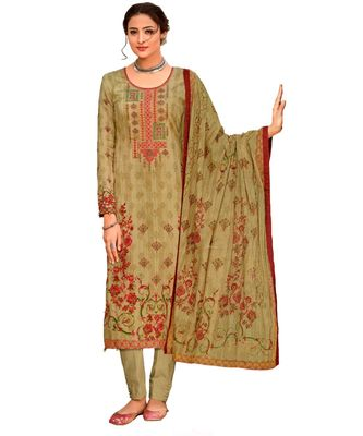 beige embroidered cotton unstitched salwar