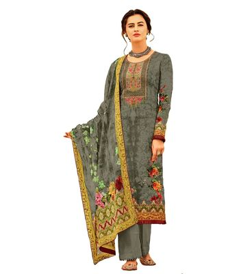 grey embroidered cotton unstitched salwar